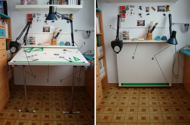 Mesas y escritorios abatibles maderosos for Mesas tableros plegables