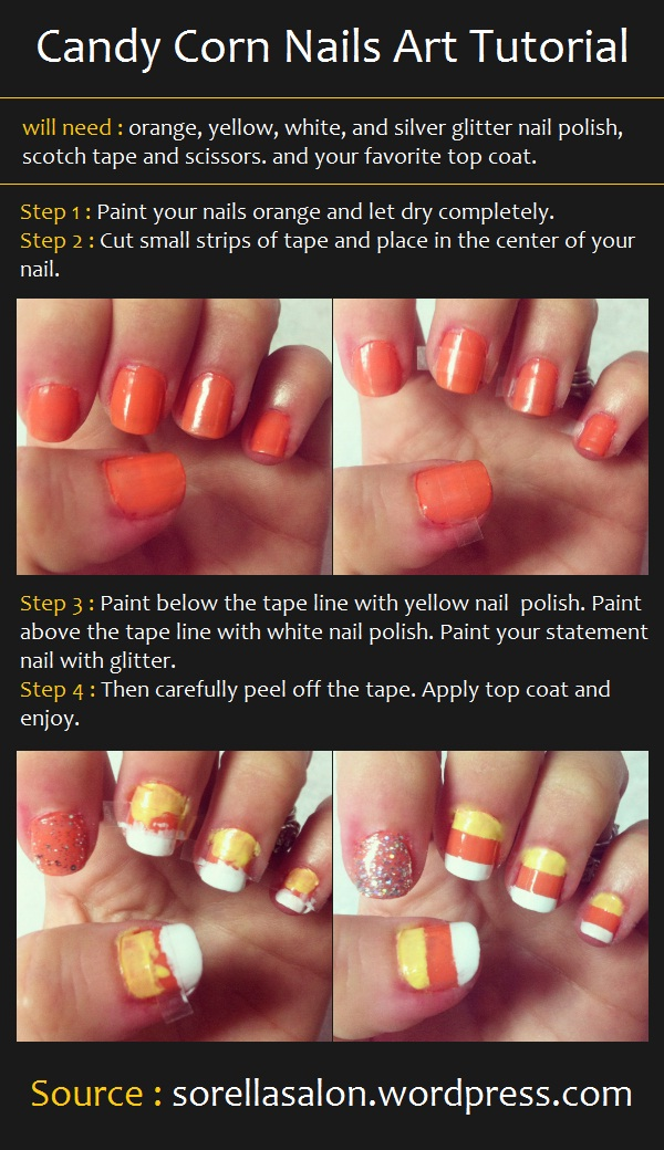 Manicure Tutorials Candy Corn Nails Art Tutorial