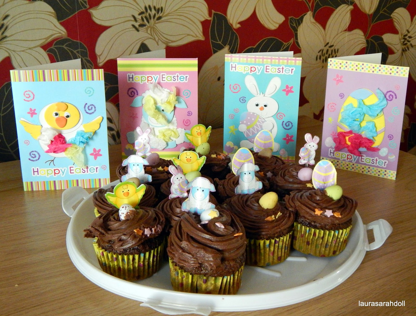 Easter chocolate cupcake chick sheep egg rabbit mini eggs cards