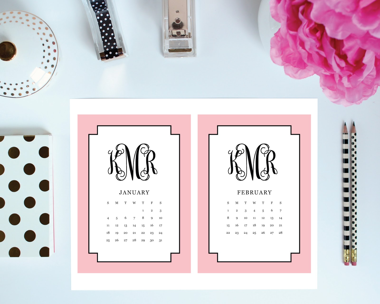 printable desk calendars for your office! you choose your patter, colors, font, and border. thepreppygreek.etsy.com