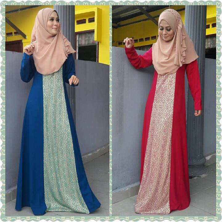 JUBAH DEWASA ( Qaisara ( NAVY BLUE / RED ) )