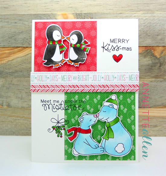 Mistletoe kissing Animal Christmas Card by Annette Allen | Holiday Smooches Stamp set by Newton's Nook Designs #newtonsnook