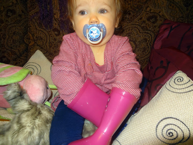 Wearing her Wellies