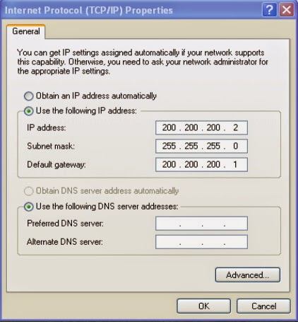 Konfigurasi IP Address XP Sebagai Server