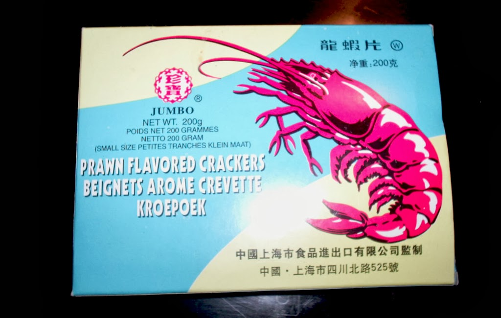caja de prawn flavored crackers o pan de gambas
