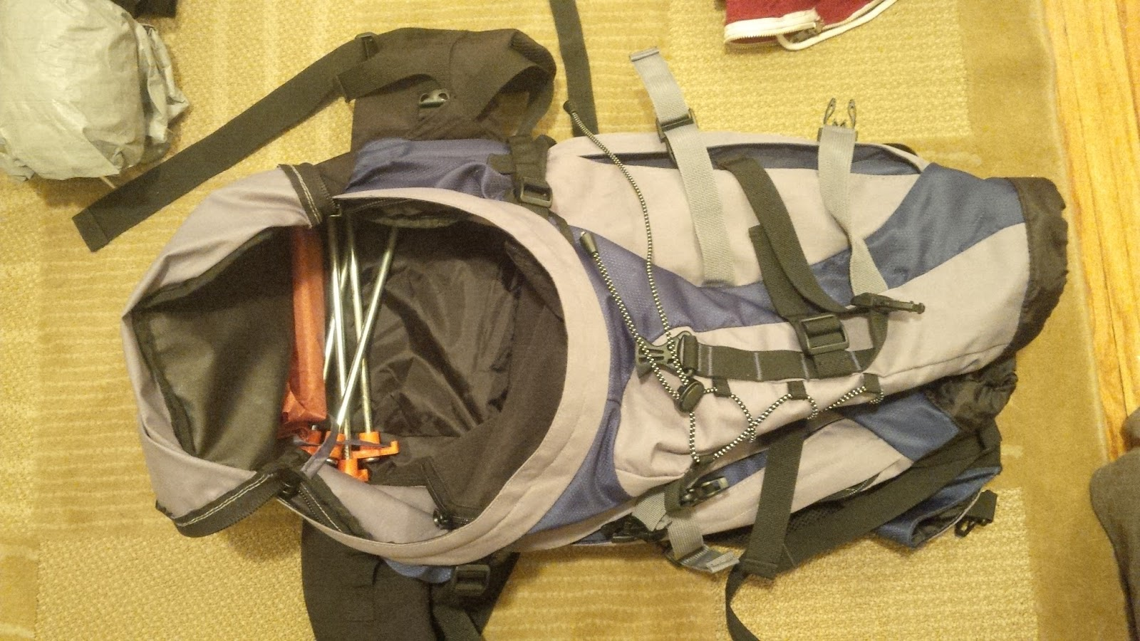 Tent Stakes Added to Back Pack