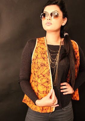 'A' by Anubha, Anubha Srivastav jacket, ikat jacket, khadi jacket, ikat khadi jacket, orange silk jacket