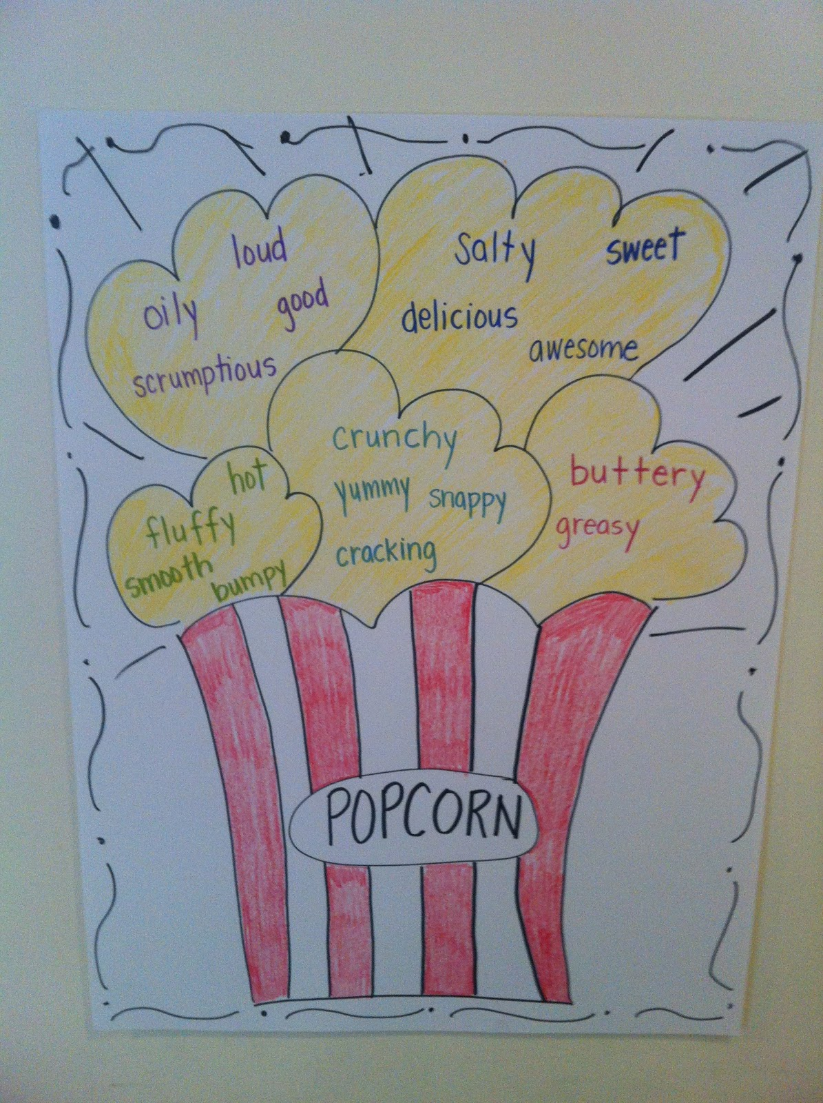 how to draw a piece of popcorn