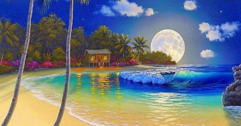 Im genes arte pinturas cuadro con paisaje de playa al - Cuadros hechos con piedras de playa ...