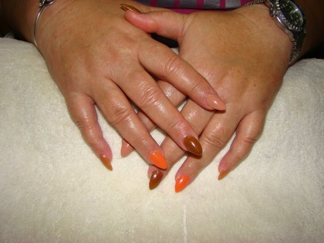 Acrylic overlay on natural nails Topcoat LED color 5 different colors all in 'Earth Tones' LED polish