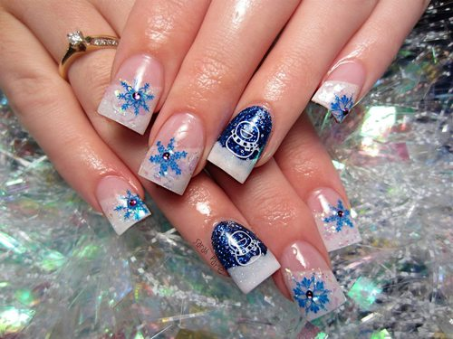 Christmas Nail Art Designs: BLUE Christmas nails