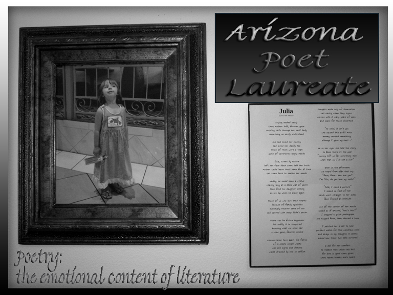 "Arizona Poet Laureate  ................     ............      ""the Emotional Content of Literature"""