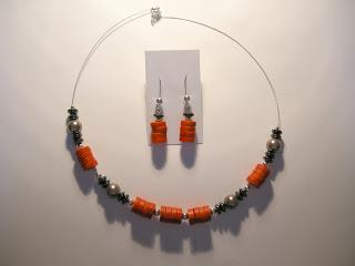biżuteria z półfabrykatów - czerwień z szarością (komplet)