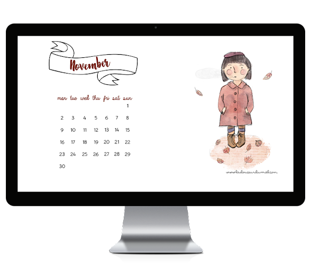 November 2015 desktop wallpaper, fall calendar digitally illustrated with a little girl and orange leaves falling