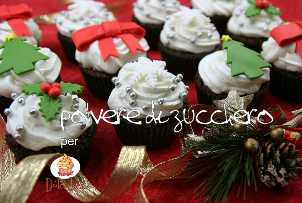 cupcakes decorati pasta di zucchero tutorial cake design feste natale polvere di zucchero