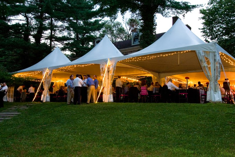 Tent at black and pink wedding