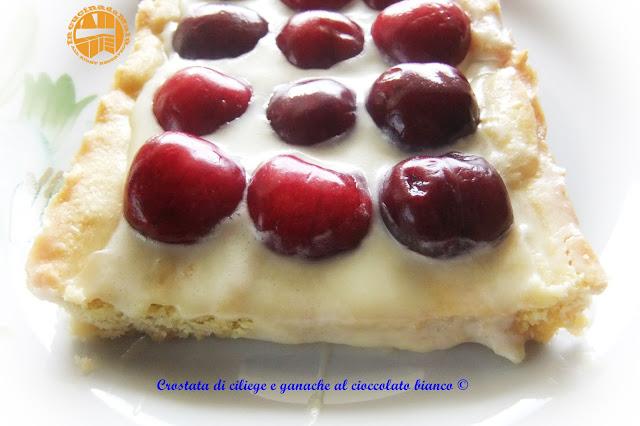 crostata di ciliege con ganache al cioccolato bianco