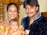 Darshan's wife and Son