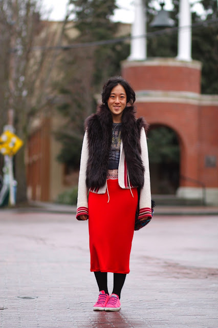 Kathy Wang Red Midi SKirt faux fur vest Ballard Seattle Street Style Fashion it's my darlin'