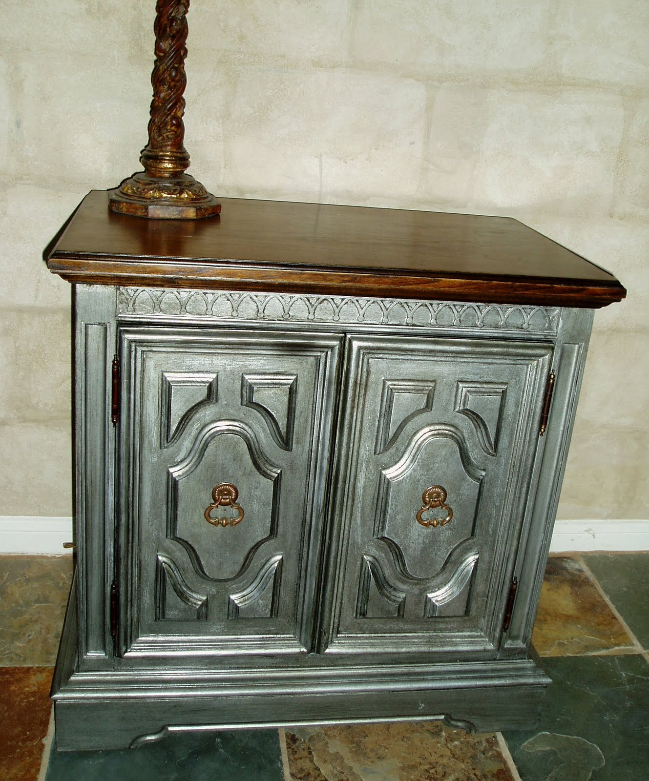 Faux painting furniture antiqued pewter side accent table Images of painted furniture