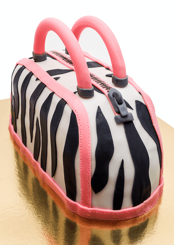 Purse bag fondant cake zipper side right shot