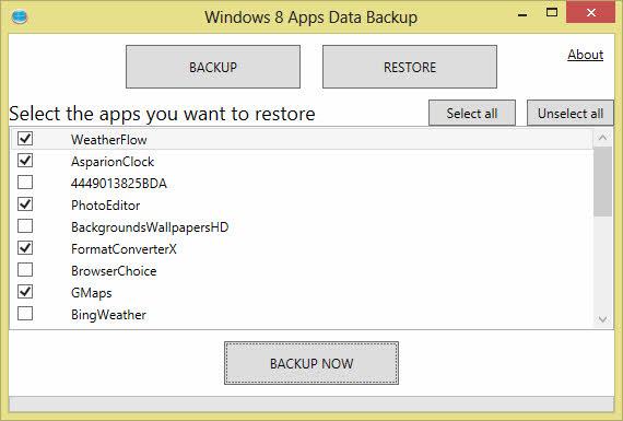 Respalda todas las apps de Windows 8