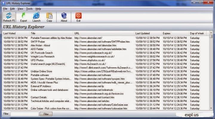 تحميل برنامج مسح ذاكرة التصفح المؤقته URL History Explorer