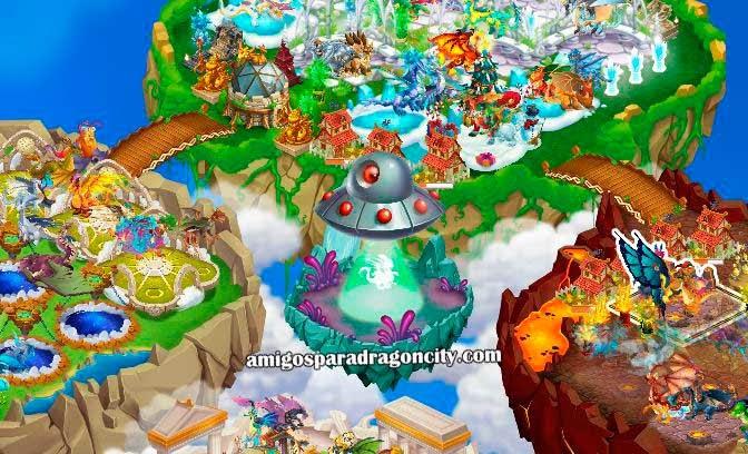 imagen de la isla alienigena de dragon city de facebook
