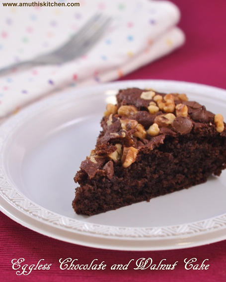 Eggless Chocolate and Walnut Cake