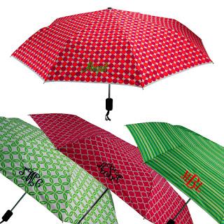 preppy monogrammed umbrellas at emilyrosejewellery.com