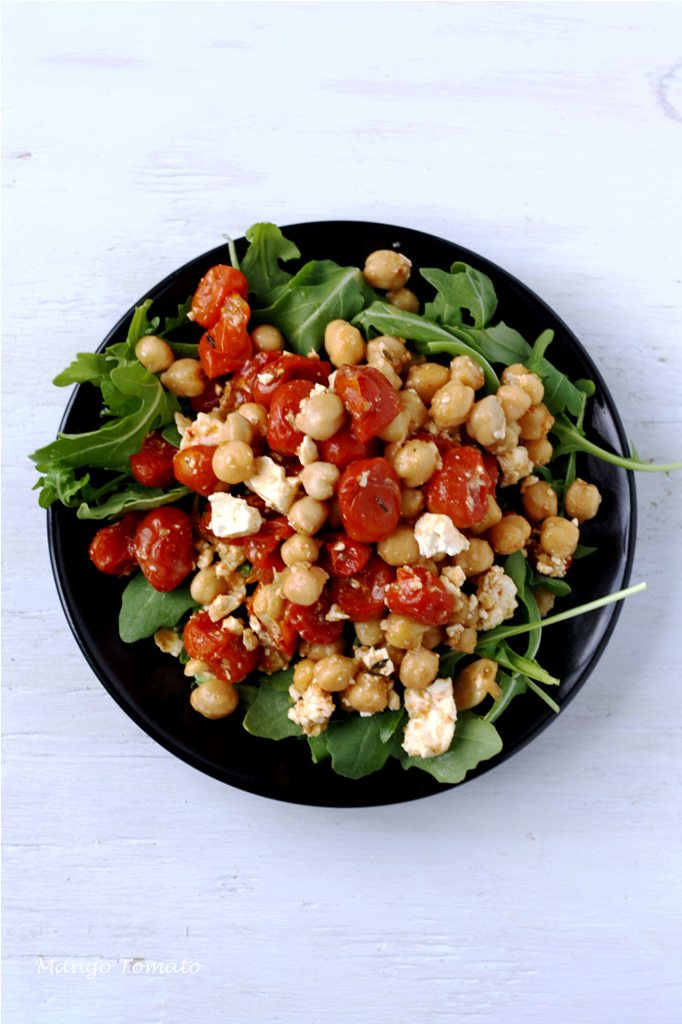 Mango & Tomato: Roasted tomatoes with feta and chickpeas salad