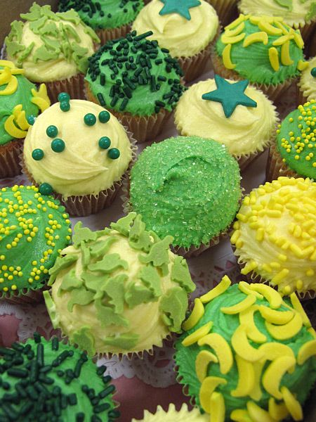 Green and Yellow Wedding Cupcakes by Crumbs and Doilies