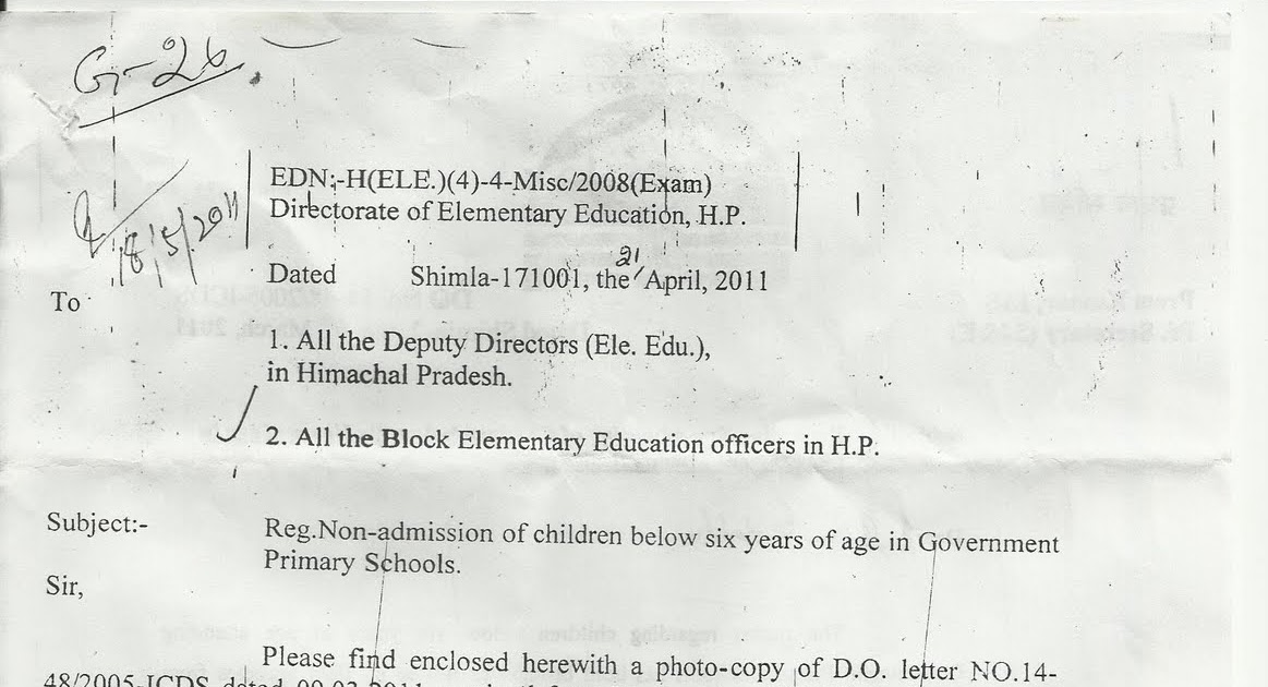 ADMISSION AGE IN H.P. UNDER R.T.E. IS 6 YEARS- A NEW RULE FOR GOVT ...