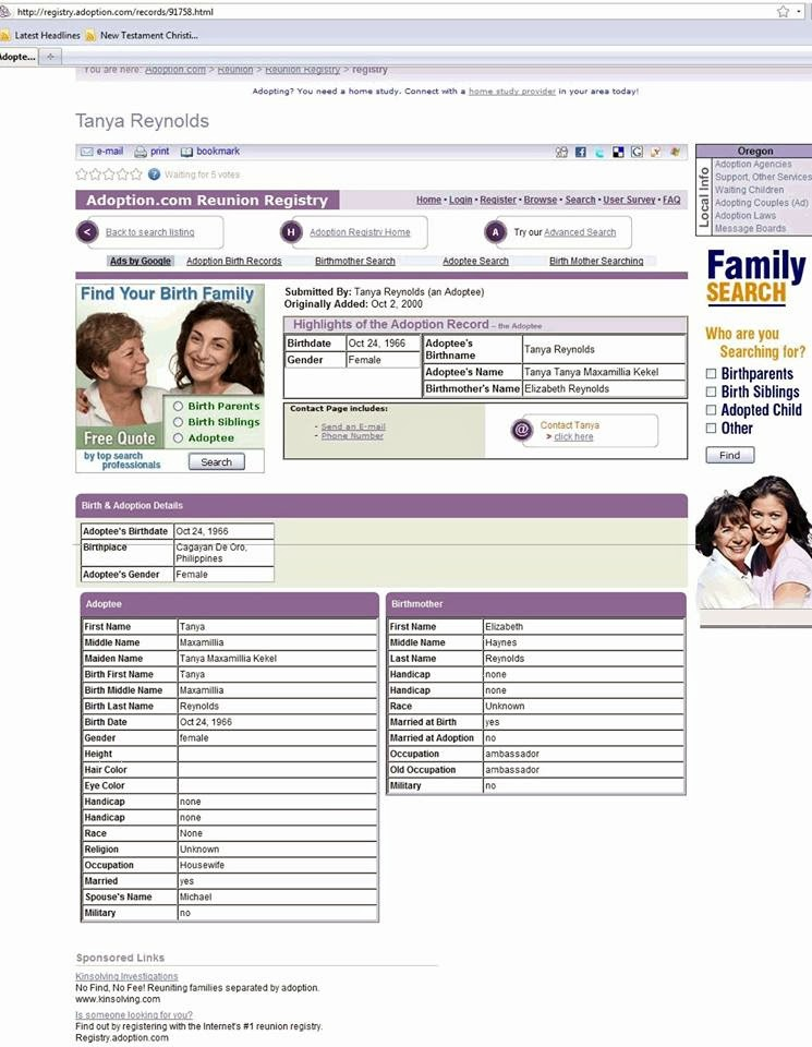 Tanya Tanya Maxamillia Reynolds Davis Kekel's Adoption Registry Form circa 2011