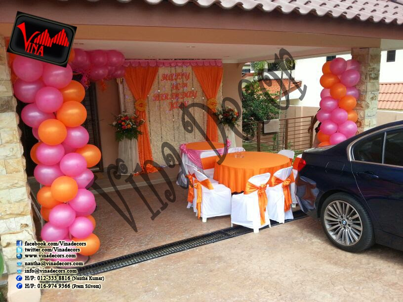 Happy 60th Birthday Decoration with paper lantern Orange and Pink