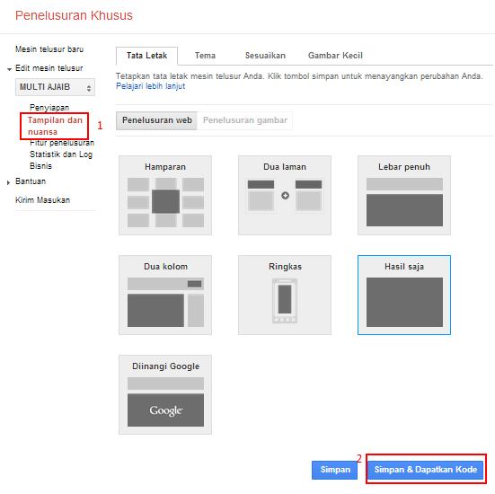 Cara Membuat pencarian Google diblog