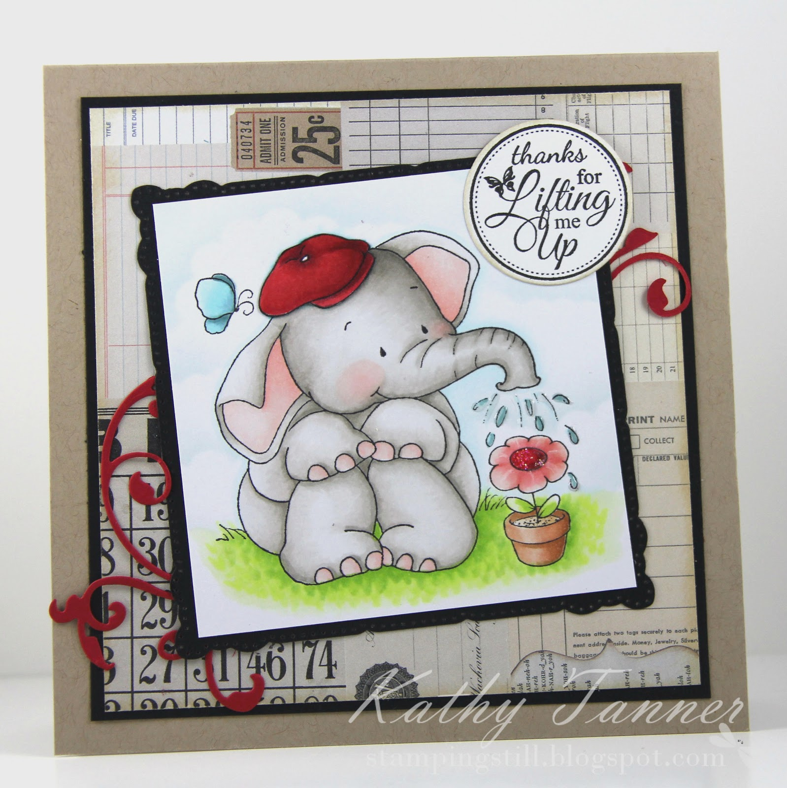whimsy stamps, Jelly Bean's flower, crissy armstrong, elephant