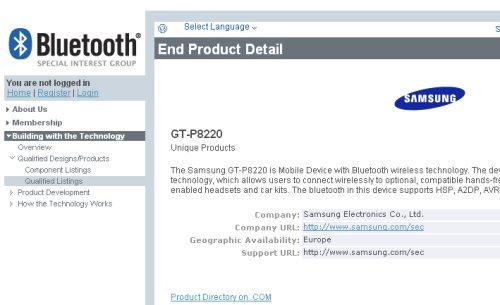 Inserito nel sito Bluetooth.org il prossimo modello Gt 8220 alias Samsung Galaxy Tab 3 Plus