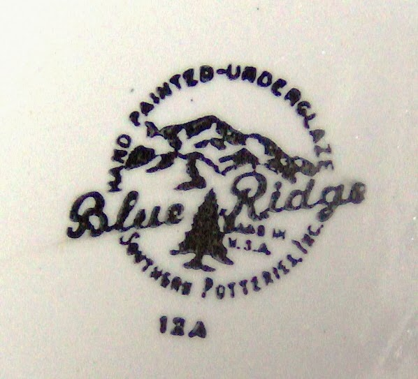 example of one of the identifying stamps used by Southern Potteries for their Blue Ridge dishware in the 1930s until the 1950s