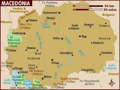 Macedonia Map Province Area