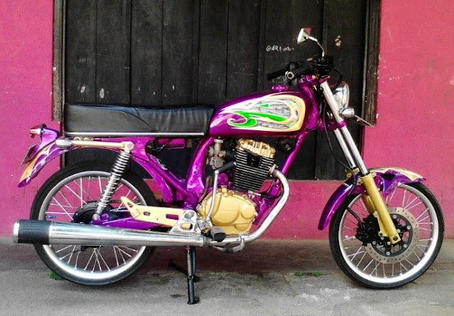 Foto Modifikasi Honda CB Salatiga, Ungu Simple