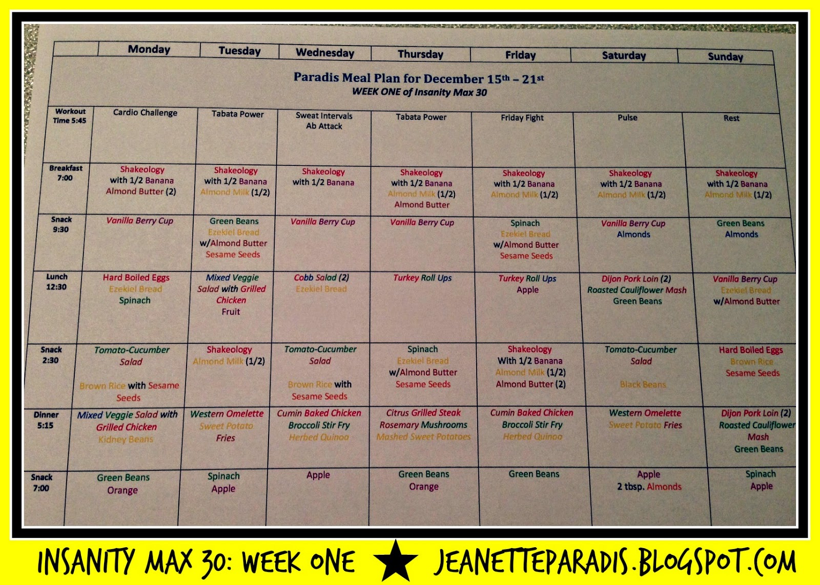 Kitchen Window Insanity Max 30 Meal Plan and Grocery List Week ONE