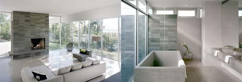 Family Room In Glass House Design Futuristic