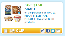 $1.50 off any TWO (2) KRAFT FRESH TAKE, PHILADELPHIA or MILKBITE products
