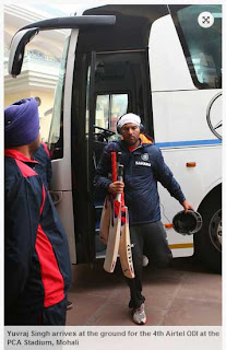 Yuvraj+Singh+arrives+at+the+ground+for+the+4th+Airtel+ODI+at+the+PCA+Stadium,+Mohali
