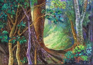 Original soft pastel painting of Light through the trees, from Coorg by Manju Panchal