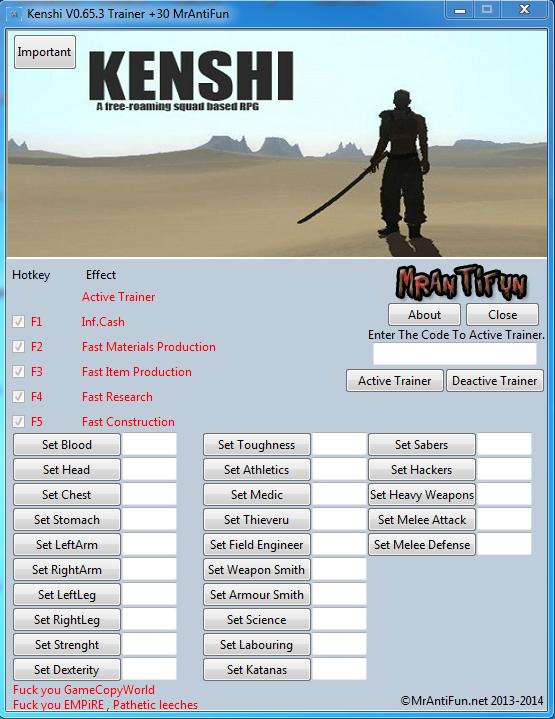 Kenshi V0.65.3 Trainer +30 MrAntiFun