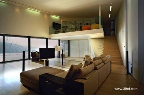 Vista del interior de residencia contemporánea en Croacia