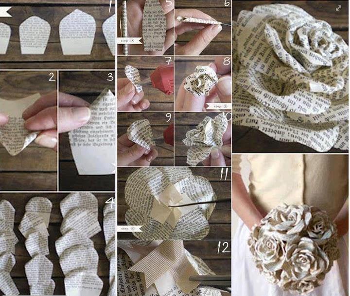 Arte y Manualidades de Sivy: PAP- Ramos de flores con papel periódico
