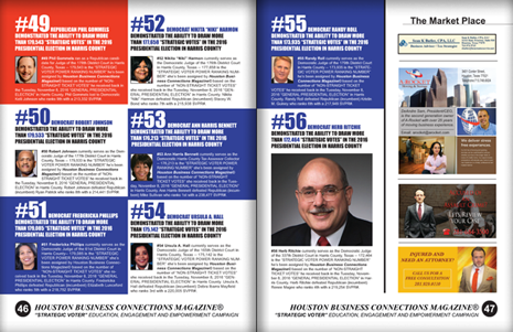 "PAGES 46 AND 47 - HOUSTON BUSINESS CONNECTIONS MAGAZINE© ""STRATEGIC VOTER"" MOBILIZATION PROJECT"